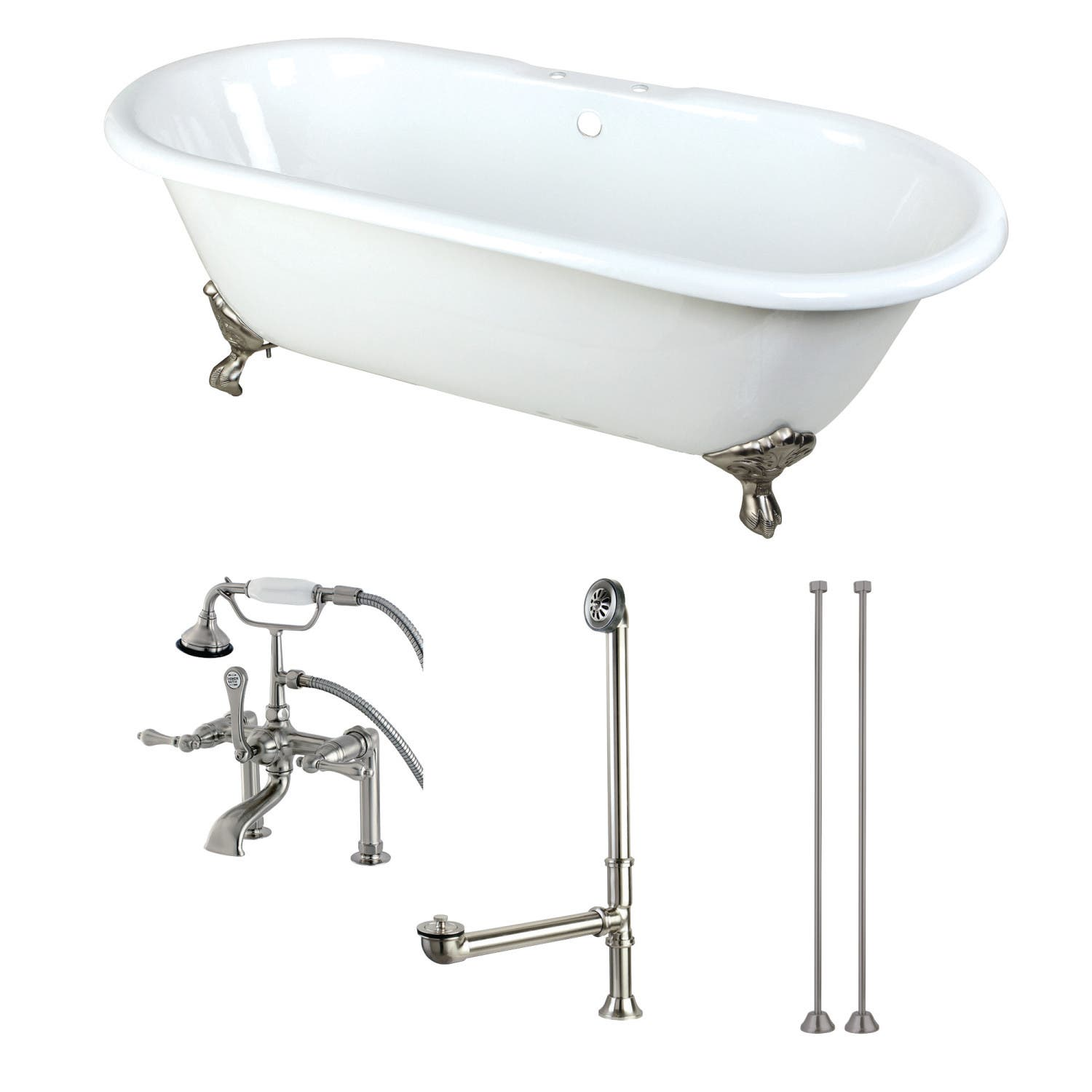 Kingston Brass Aqua Eden 66 Inch Cast Iron Clawfoot Tub With Faucet