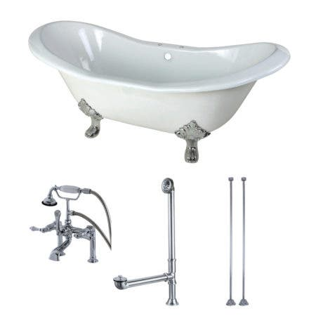 Aqua Eden KCT7D7231C1 72-Inch Cast Iron Double Slipper Clawfoot Tub Combo with Faucet and Supply Lines, White/Polished Chrome