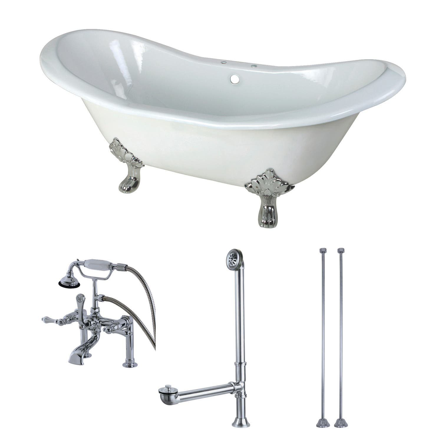 Aqua Eden 72 Inch Cast Iron Clawfoot Tub With Faucet Drain And Supply Lines Combo White Polished Chrome Kingston Br