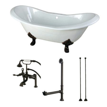 Aqua Eden KCT7D7231C5 72-Inch Cast Iron Double Slipper Clawfoot Tub Combo with Faucet and Supply Lines, White/Oil Rubbed Bronze