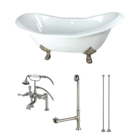 Aqua Eden KCT7D7231C8 72-Inch Cast Iron Double Slipper Clawfoot Tub Combo with Faucet and Supply Lines, White/Brushed Nickel