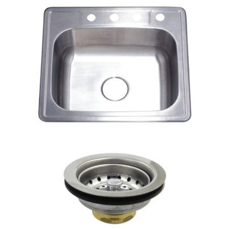 Kingston Brass KGKTS252210 25-Inch X 22-Inch Self-Rimming Single Bowl Kitchen Sink with Strainer, Brushed