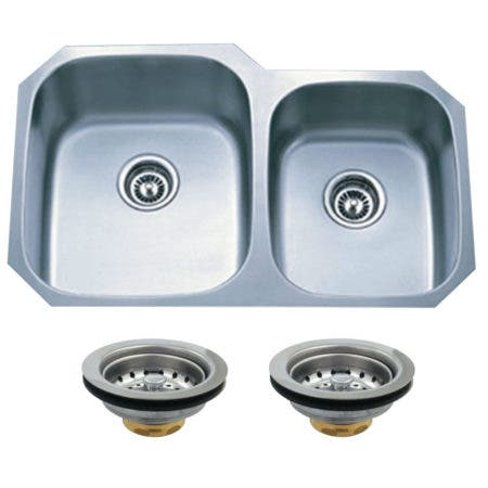 Kingston Brass KGKUD3221P Undermount Stainless Steel Double Bowl Kitchen Sink Combo With Strainers, Brushed
