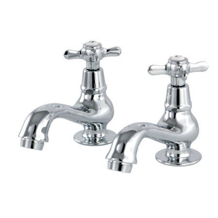 Kingston Brass KS1101BEX Basin Tap Faucet with Cross Handle, Chrome