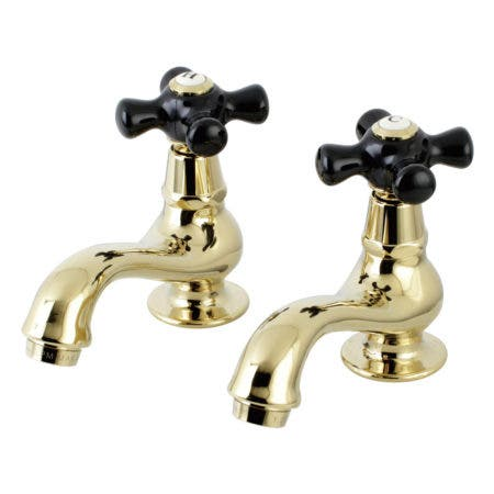 Kingston Brass KS1102PKX Basin Tap Faucet with Cross Handle, Polished Brass