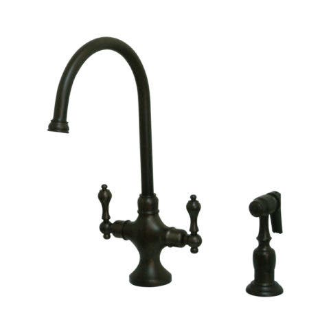 Kingston Brass KS1765ALBS Vintage Classic Kitchen Faucet With Brass Sprayer, Oil Rubbed Bronze