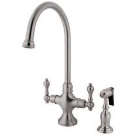 Kingston Brass KS1768ALBS Vintage Classic Kitchen Faucet With Brass Sprayer, Brushed Nickel