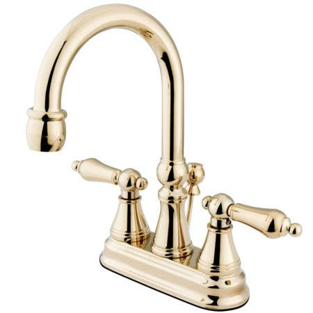 Kingston Brass KS2612AL 4 in. Centerset Bathroom Faucet, Polished Brass