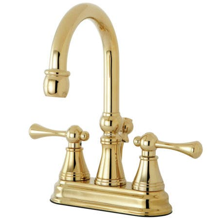 Kingston Brass KS2612BL 4 in. Centerset Bathroom Faucet, Polished Brass