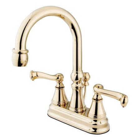 Kingston Brass KS2612FL 4 in. Centerset Bathroom Faucet, Polished Brass