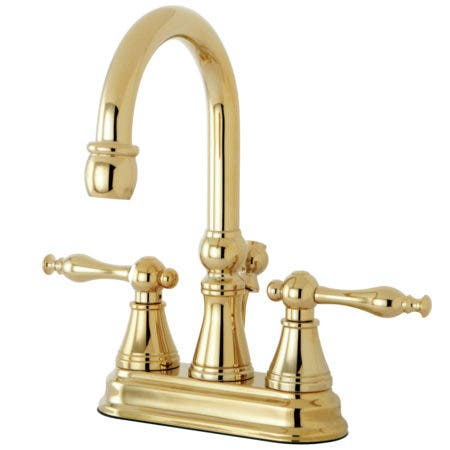 Kingston Brass KS2612NL 4 in. Centerset Bathroom Faucet, Polished Brass