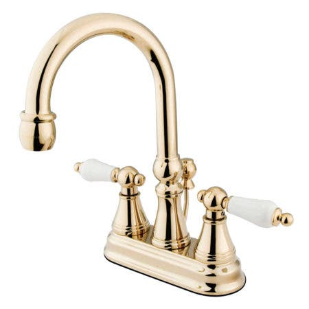 Kingston Brass KS2612PL 4 in. Centerset Bathroom Faucet, Polished Brass