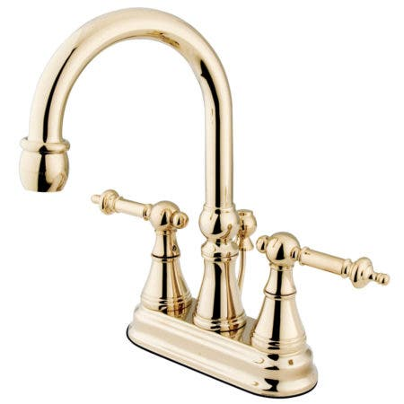 Kingston Brass KS2612TL 4 in. Centerset Bathroom Faucet, Polished Brass