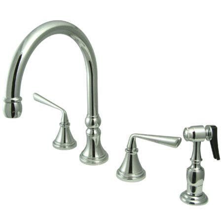 Kingston Brass KS2791ZLBS Silver Sage Widespread Kitchen Faucet with Sprayer, Polished Chrome