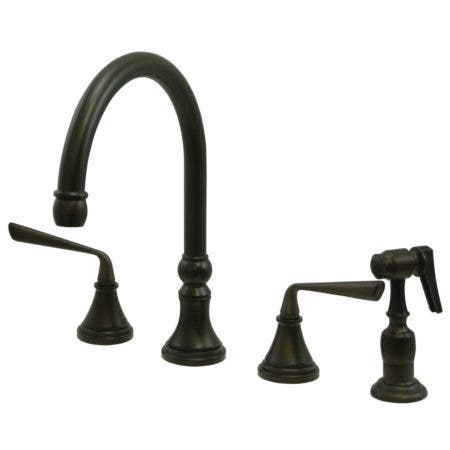Kingston Brass KS2795ZLBS Silver Sage Widespread Kitchen Faucet with Sprayer, Oil Rubbed Bronze