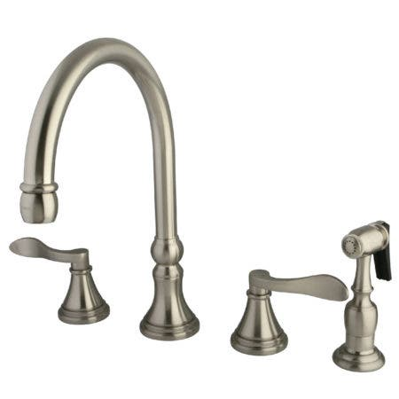 "Kingston Brass  KS2798DFLBS NuFrench 8"" Deck Mount Kitchen faucet with Brass Sprayer"
