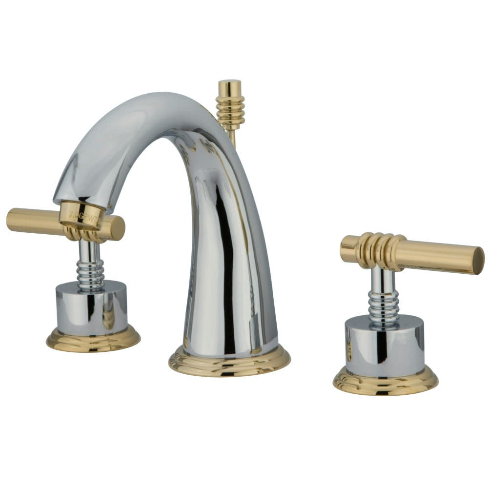 Kingston Brass KS2964ML 8 in. Widespread Bathroom Faucet, Polished Chrome/Polished Brass