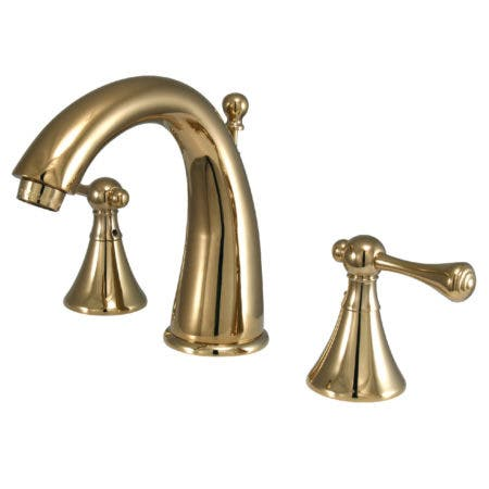 Kingston Brass KS2972BL English Country Widespread Lavatory Faucet, Polished Brass