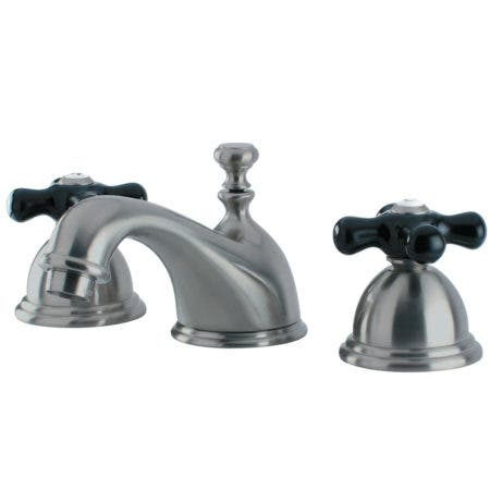 Kingston Brass KS3968PKX Duchess Widespread Lavatory Faucet with Cross Handle, Satin Nickel