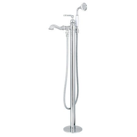 Kingston Brass KS7011RL Royale Single Handle Freestanding Roman Tub Faucet With Hand Shower, Polished Chrome