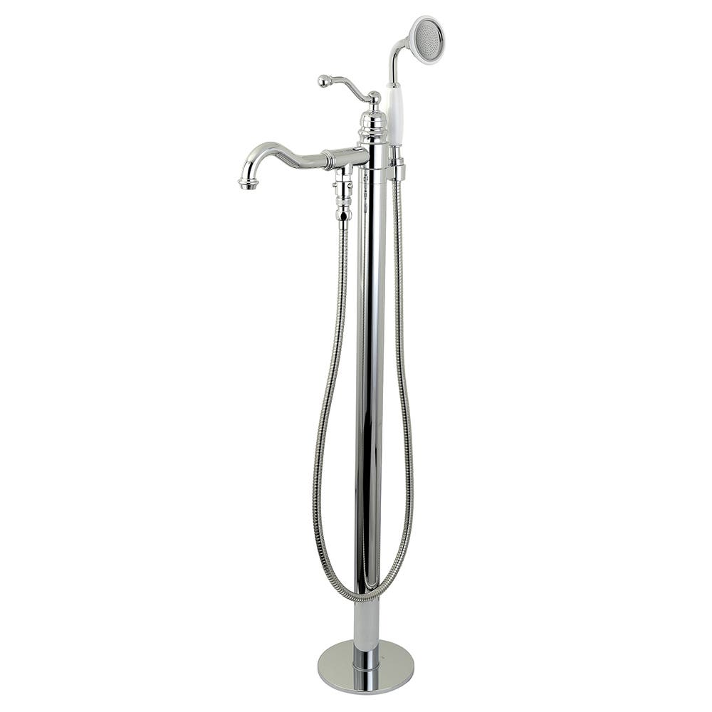 Kingston Brass KS7131ABL English Country Single-Handle Freestanding Roman Tub Filler with Hand Shower, Polished Chrome
