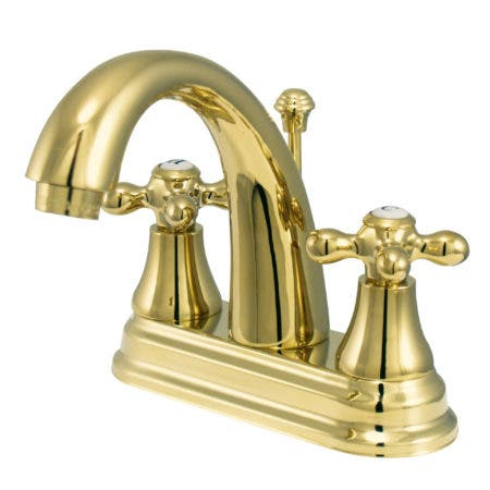 Kingston Brass KS7612AX English Vintage 4-Inch Centerset Lavatory Faucet, Polished Brass