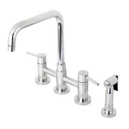 Kingston Brass KS8281DLBS Concord Two-Handle Bridge Kitchen Faucet with Brass Side Sprayer, Polished Chrome
