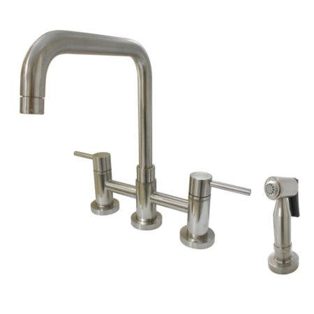 Kingston Brass KS8288DLBS Concord Two-Handle Bridge Kitchen Faucet with Brass Side Sprayer, Brushed Nickel