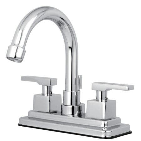 Kingston Brass KS8661QLL Executive 4 in. Centerset Bathroom Faucet with Brass Pop-Up, Polished Chrome