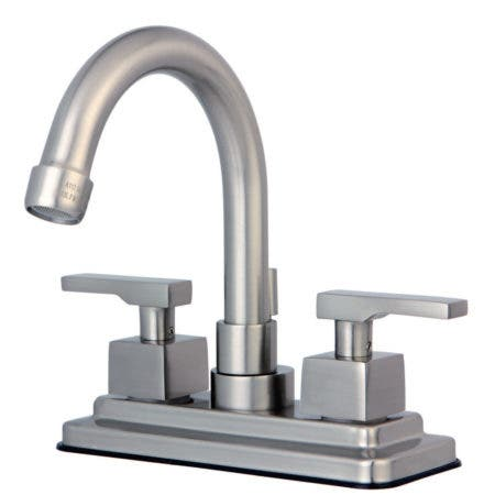 Kingston Brass KS8668QLL Executive 4 in. Centerset Bathroom Faucet with Brass Pop-Up, Brushed Nickel