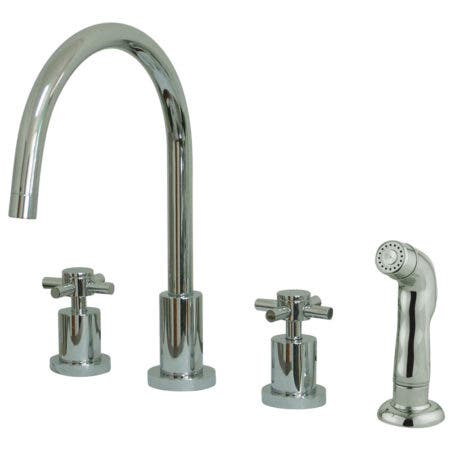 Kingston Brass KS8721DX Concord Widespread Kitchen Faucet with Sprayer, Polished Chrome