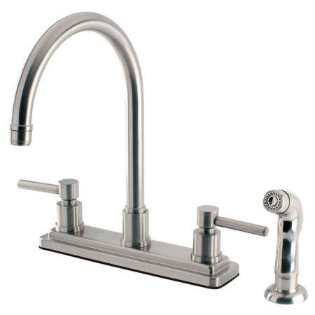"Kingston Brass KS8798DL Concord 8"" Centerset Kitchen Faucet with Sprayer, Satin Nickel"