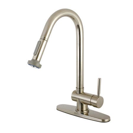 Kingston Brass KS8888DL Concord Pull-Down Kitchen Faucet, Satin Nickel