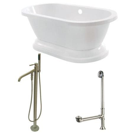 Aqua Eden KT7PE672824B8 67-Inch Acrylic Double Ended Pedestal Tub Combo with Faucet and Supply Lines, White/Brushed Nickel