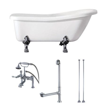 Aqua Eden KTDE692823C1 67-Inch Acrylic Single Slipper Clawfoot Tub Combo with Faucet and Supply Lines, White/Polished Chrome