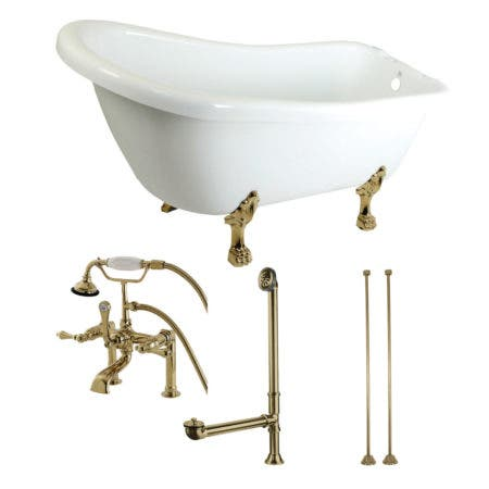 Aqua Eden KTDE692823C2 67-Inch Acrylic Single Slipper Clawfoot Tub Combo with Faucet and Supply Lines, White/Polished Brass