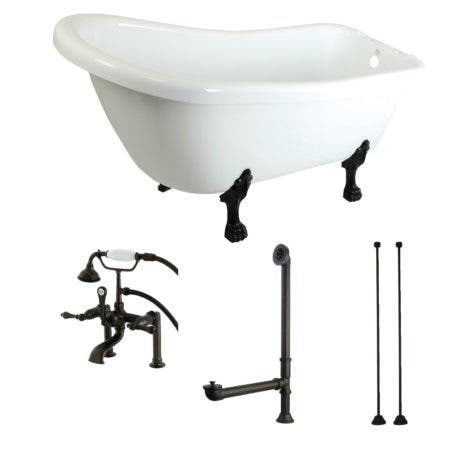 Aqua Eden KTDE692823C5 67-Inch Acrylic Single Slipper Clawfoot Tub Combo with Faucet and Supply Lines, White/Oil Rubbed Bronze