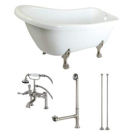 Aqua Eden KTDE692823C8 67-Inch Acrylic Single Slipper Clawfoot Tub Combo with Faucet and Supply Lines, White/Brushed Nickel