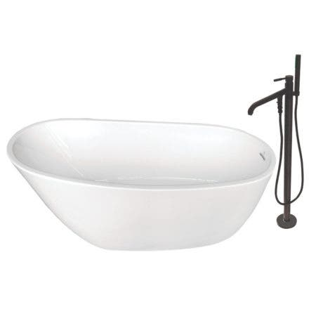 Aqua Eden KTRS592928A5 59-Inch Acrylic Single Slipper Freestanding Tub Combo with Faucet and Drain, White/Oil Rubbed Bronze