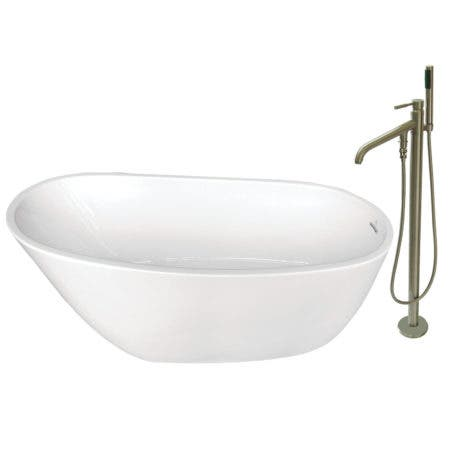 Aqua Eden KTRS592928A8 59-Inch Acrylic Single Slipper Freestanding Tub Combo with Faucet and Drain, White/Brushed Nickel