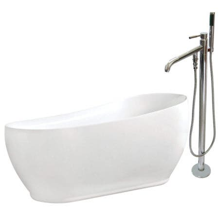 Aqua Eden KTRS723432A1 71-Inch Acrylic Single Slipper Freestanding Tub Combo with Faucet and Drain, White/Polished Chrome