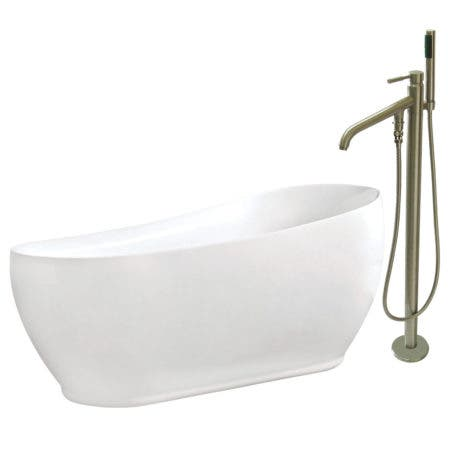 Aqua Eden KTRS723432A8 71-Inch Acrylic Single Slipper Freestanding Tub Combo with Faucet and Drain, White/Brushed Nickel
