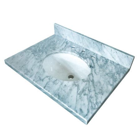 "Fauceture KVPB3022M38 Templeton 30"" x 22"" Carrara Marble Vanity Top with Oval Sink, Carrara Marble"
