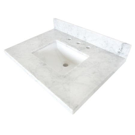 "Kingston Brass KVPB3022M38SQ Templeton 30"" X 22"" Carrara Marble Vanity Top with Square Undermount Sink, Carrara Marble"