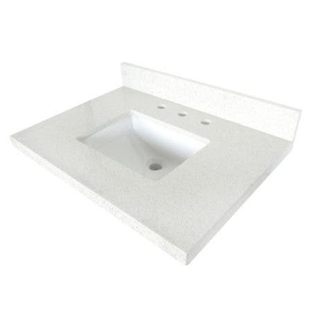 "Kingston Brass KVPB3022WQ38SQ Templeton 30"" x 22"" White Quartz Vanity Top with Square Sink, Quartz White"