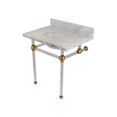 Kingston Brass KVPB3030MA7 Templeton 30X22 Carrara Marble Vanity Top with Clear Acrylic Feet Combo, Carrara Marble/Brushed Brass