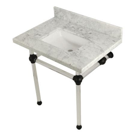 Kingston Brass KVPB3030MASQ0 Templeton 30X22 Carrara Marble Vanity Top with Clear Acrylic Feet Combo, Carrara Marble/Matte Black
