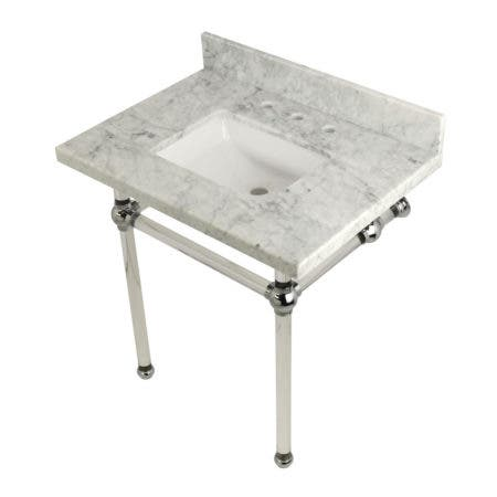 Kingston Brass KVPB3030MASQ1 Templeton 30X22 Carrara Marble Vanity Top with Clear Acrylic Feet Combo, Carrara Marble/Polished Chrome