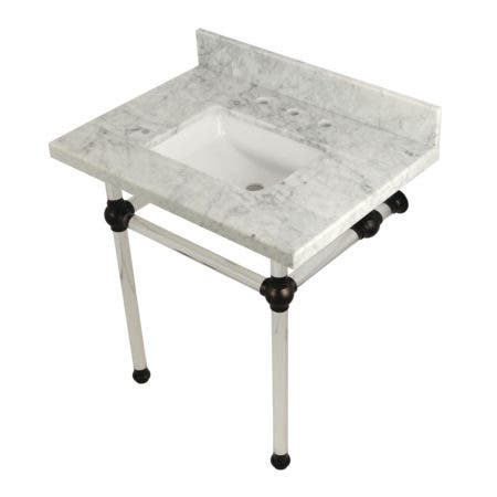 "Kingston Brass KVPB3030MASQ5 Templeton 30"" x 22"" Carrara Marble Vanity Top with Clear Acrylic Console Legs, Carrara Marble/Oil Rubbed Bronze"