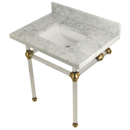 Kingston Brass KVPB3030MASQ7 Templeton 30X22 Carrara Marble Vanity Top with Clear Acrylic Feet Combo, Carrara Marble/Brushed Brass